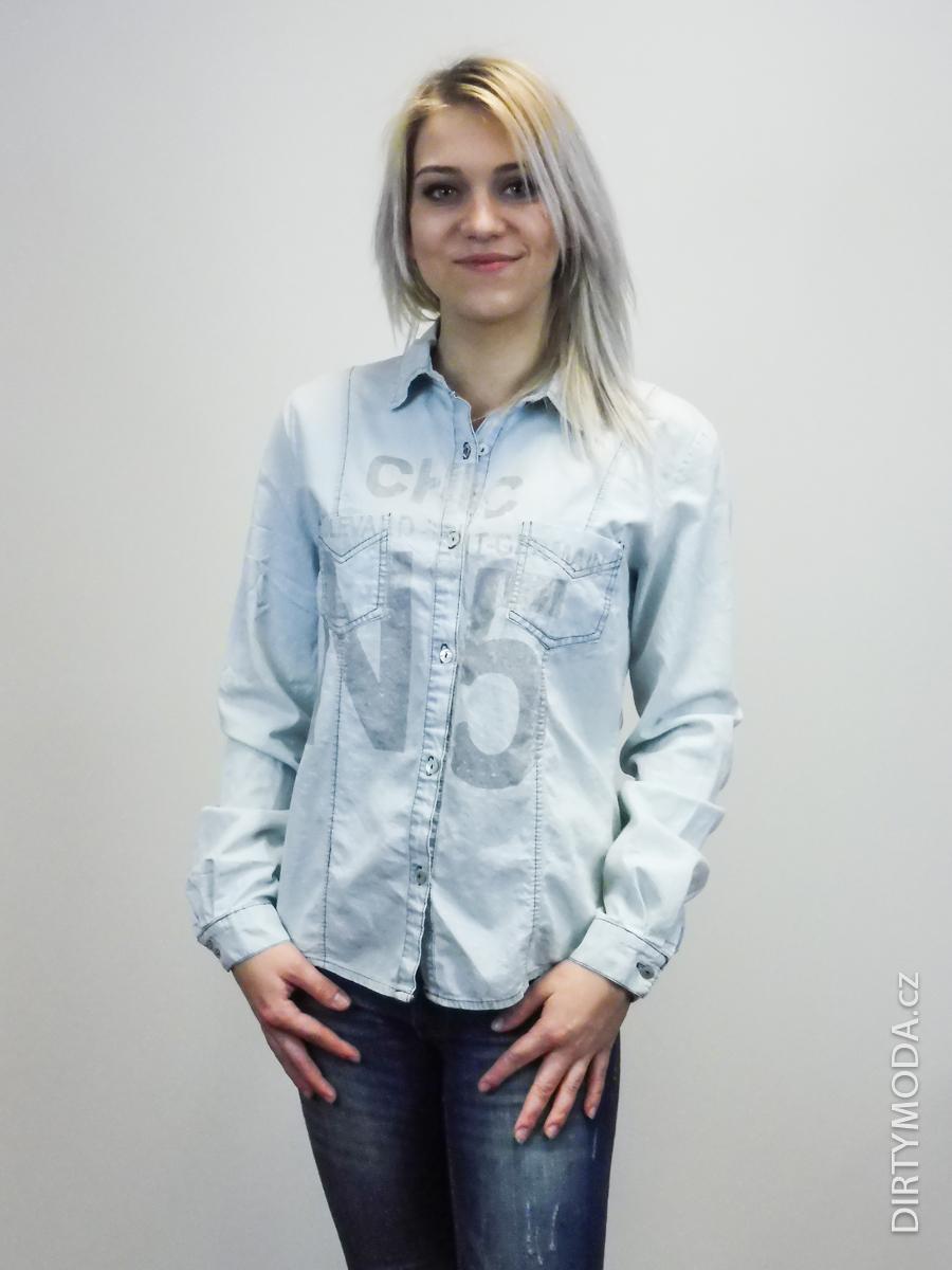 Dámské košile   polokošile   Džínová košile světle modrá fd9261df52