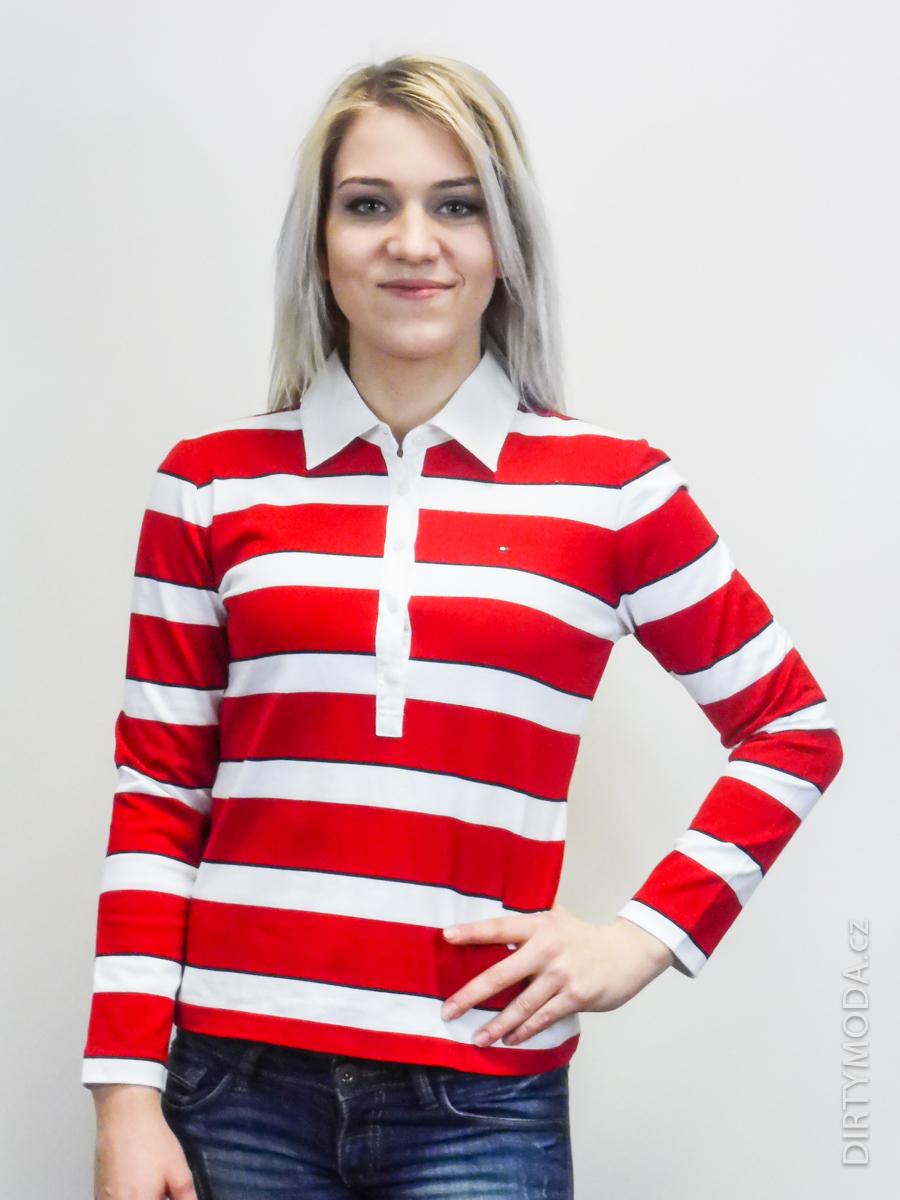 Dámské košile   polokošile   Polo tričko TOMMY HILFIGER pruhované ... 1a0886911a